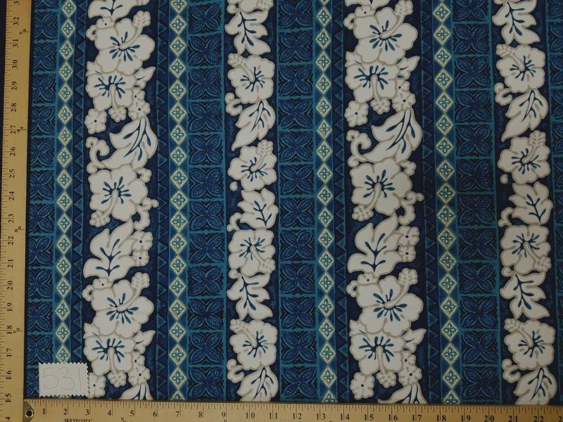 Blue Hibiscus Hawaiian Floral Cotton HP-531
