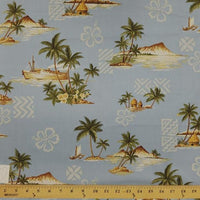 Sky Blue Hibiscus Hawaiian Palms Floral Cotton HP-532