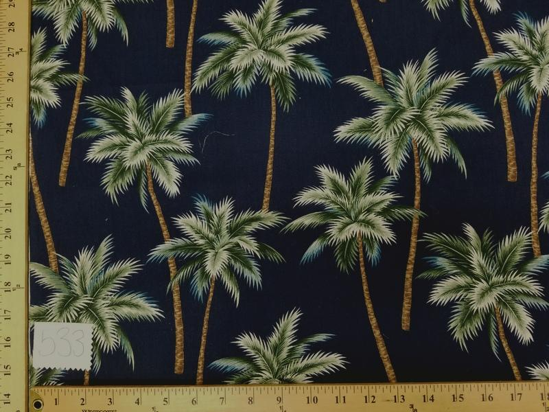 Midnight Blue Palm Tree Hawaiian Cotton HP-533