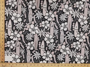 "Black Hibiscus Surfboard Hawaiian Floral Cotton HP-534 ""LAST PIECE MEASURES 1 YARD 27 INCHES"""