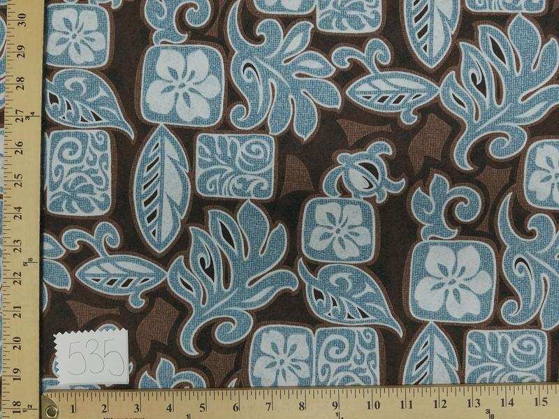 Brown Hibiscus Turtle Hawaiian Floral Cotton HP-535