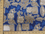 Royal Blue Hibiscus Turtle Hawaiian Floral Cotton HP-536
