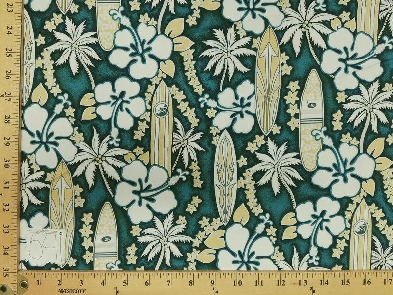 Teal Hibiscus Surfboard Hawaiian Floral Cotton HP-541