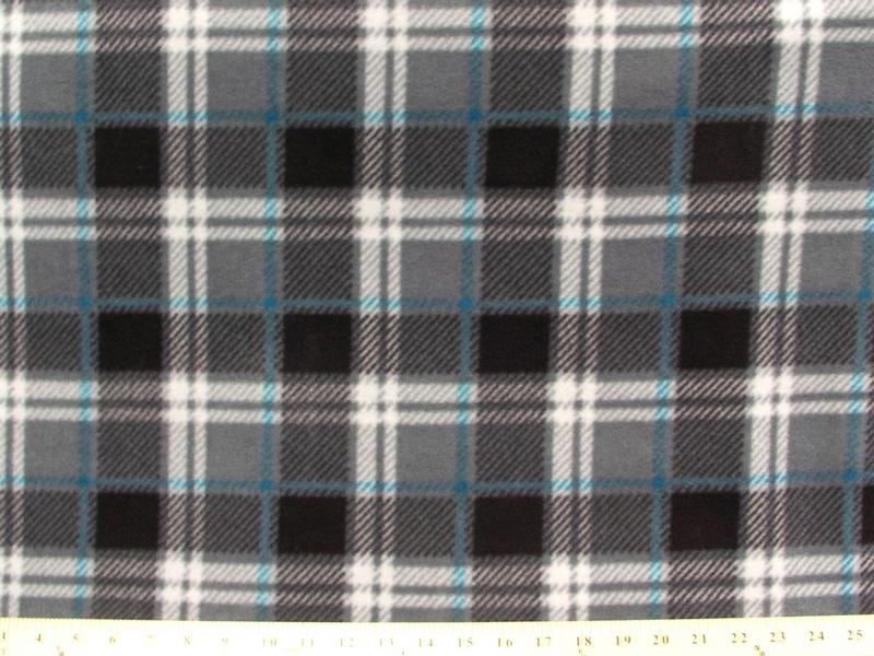 Anti-Pill London Plaid Charcoal Fleece 375
