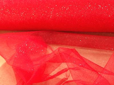 Tulle Glitter RED