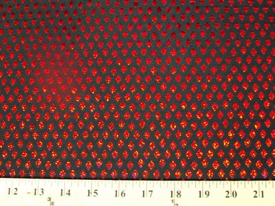Diamond Sequin Hologram Spandex BLACK/RED HS-22 LAST PIECE MEASURES 24 INCHES