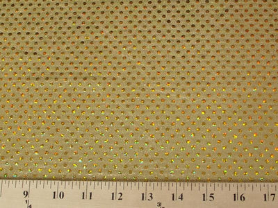 Circle Sequin Hologram Spandex GOLD HS-3