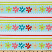 Misc Minky Cuddle Prints WHITE AQUA DAISY STRIPE