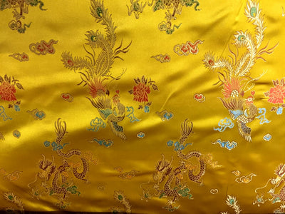 Chinese Satin Dragon/Phoenix Brocade Yellow Gold