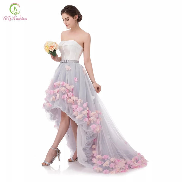 Beautiful Strapless Short Lace Flowers Evening Gown