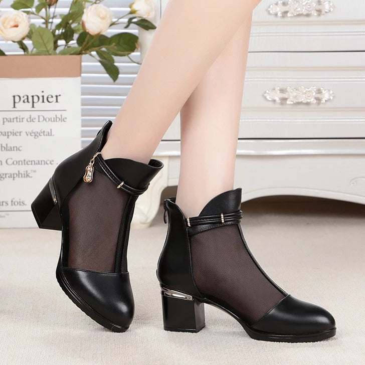 Beautiful Leather boots with Net front design ( Free Shipping )