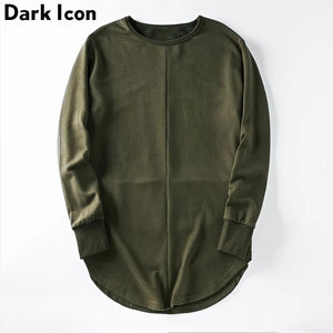 Curved Hem Side Zipper Plain Mens Sweatshirts