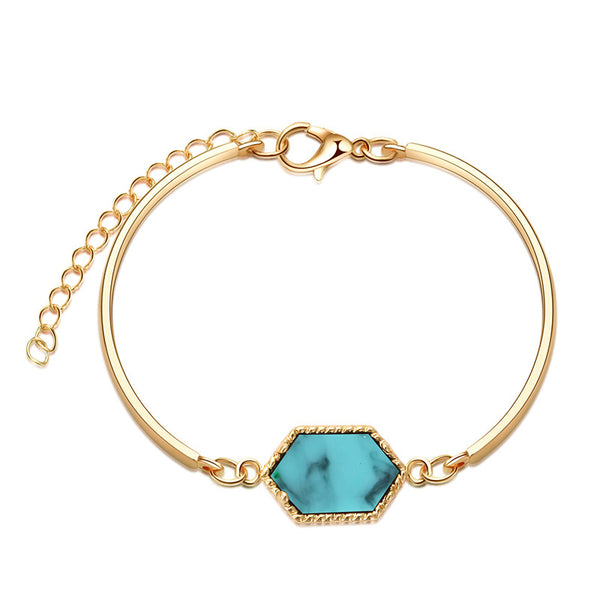 Trendy Hexagon Silver/Gold Color Natural stone Bracelet