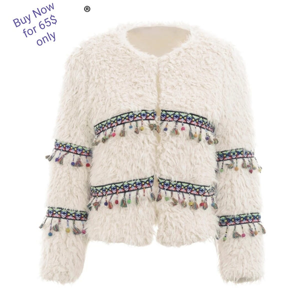 Indie Style Faux fur tassle drop design jacket