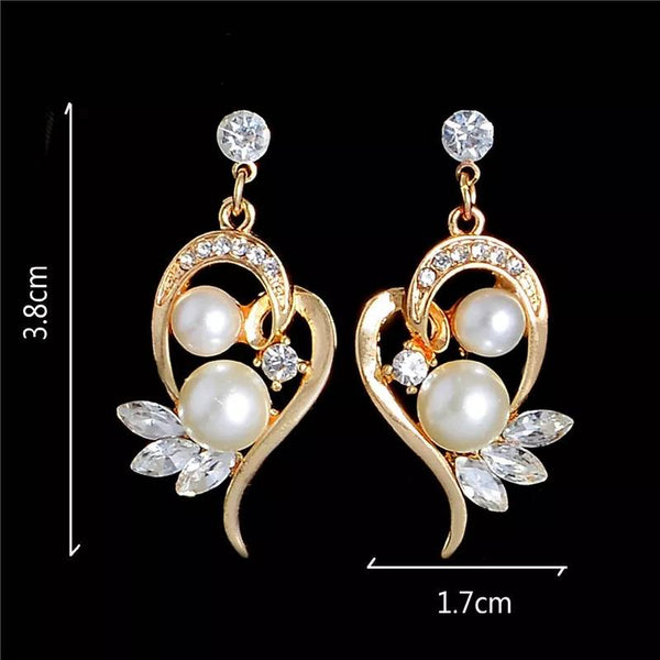 FREE Gold Color Special Imitation Pearl Austrian Crystal Pendant Necklace+ Earrings Set