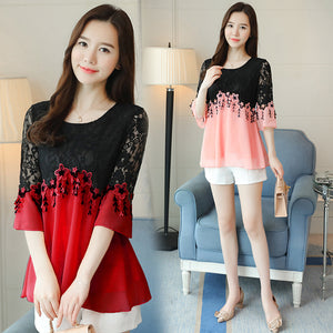 Korean Design Trumpet Sleeves Chiffon Top