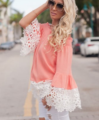 Beautiful Lace stitching chiffon Top ( Free Shipping )