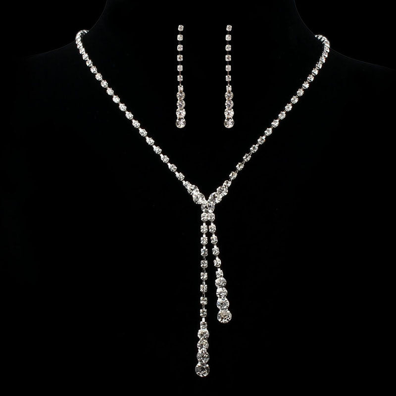 FREE Prom Wedding Bridal Jewelry Crystal Rhinestone Necklace Earring Sets