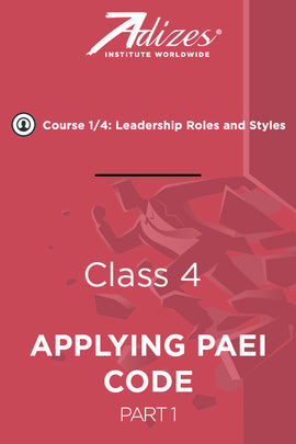 Adizes Live Course on Organizational Transformation. Slides Class 4 - APPLYING PAEI CODE TO MANAGEMENT Part 1 (English)