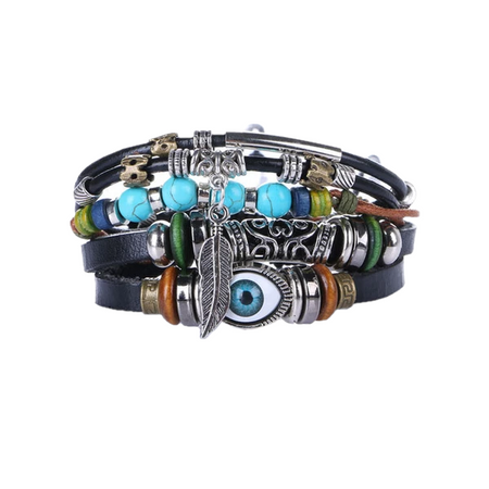Black Ethnic Punk Design Wrap Bracelet