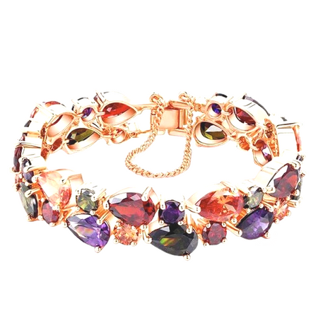 Multi-Color Stones Rose Gold Bracelet