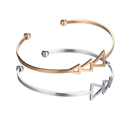 Triangle Design Rose Gold/Silver Bracelet
