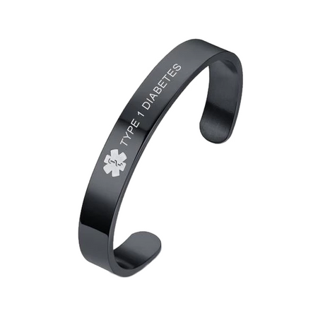 Black Stainless Steel Medical ID Bracelet