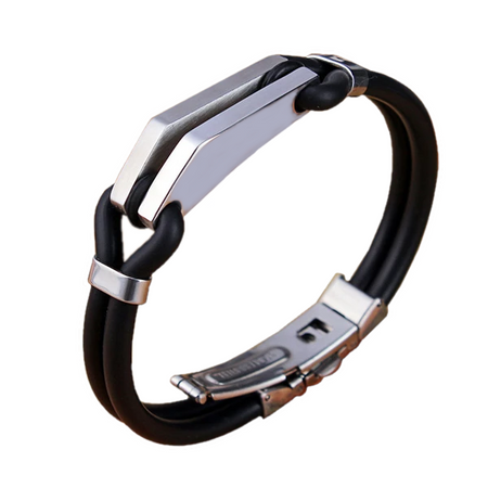 Stainless Steel Crossover Silicone Bracelet