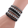 Multi-Color Leather Rhinestone Wrap Bracelet