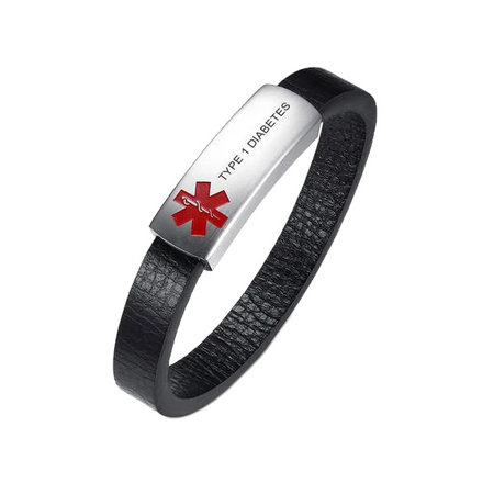 Black Leather Medical ID Bracelet