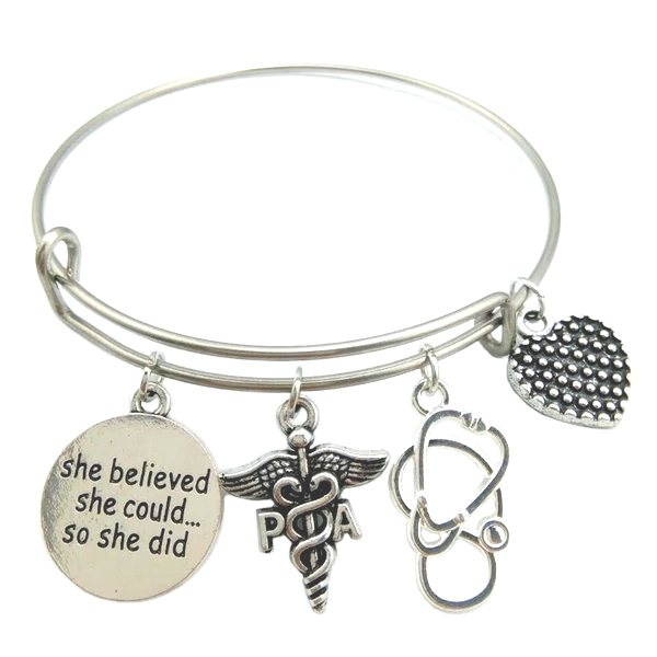 Silver Plated Physician Medical Bracelet