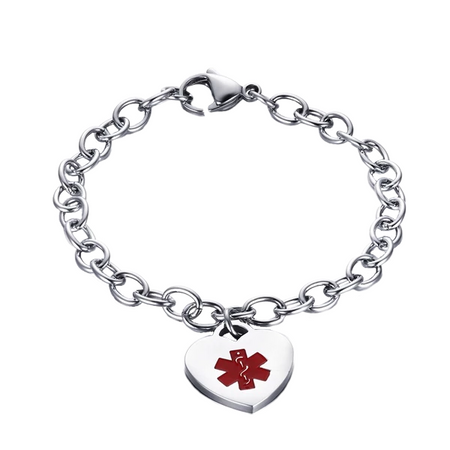 Heart Charm Link Medical ID Bracelet