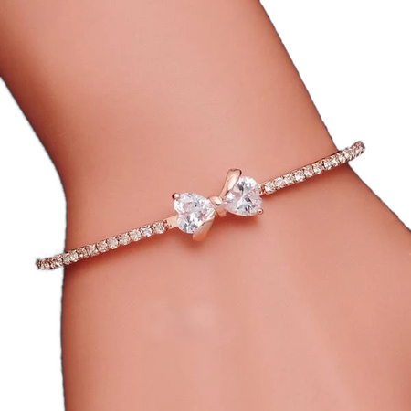 Ribbon Charm Crystals Rose Gold Bracelet