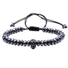 Black Skull Lava Men's Beaded Bracelet