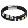 Gold and Silver Double Layer Men's Leather Bracelet