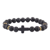 Cross Charm - Men's Beaded Bracelet