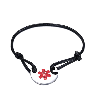 Leather Rope Medical ID Bracelet