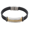 Gold and Silver Stainless Steel Silicone Bracelet