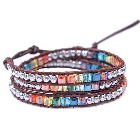 Chakra Jewels Handmade Leather Wrap Bracelet