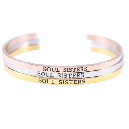 Multi-Color Steel Open Cuff Sister Bracelet