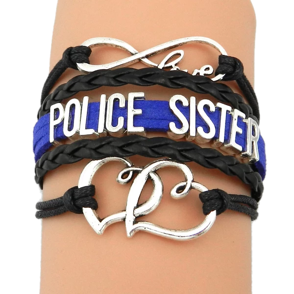 Leather Infinity Charm Sister Bracelet