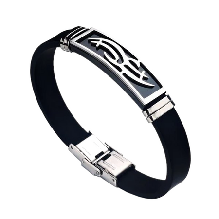 Stainless Steel Tribal Silicone Bracelet