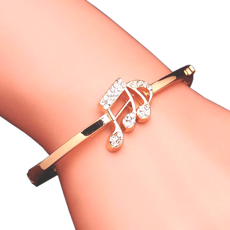 Rhinestone Music Notes Rose Gold Bracelet