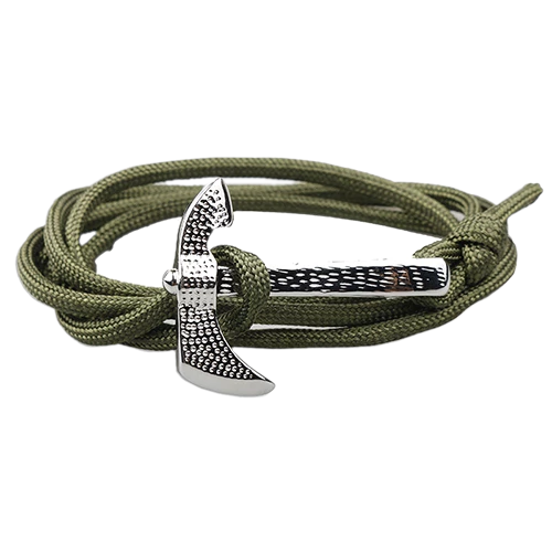 Multi-Color Silver Axe Charm Survival Bracelet