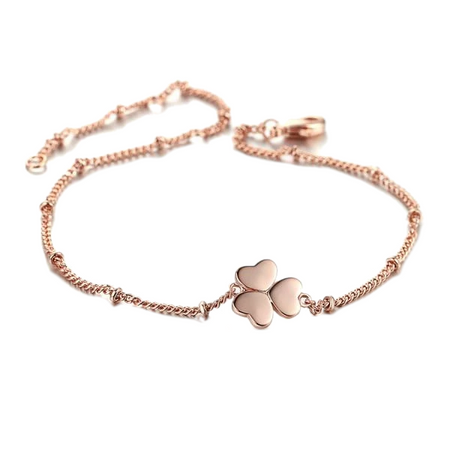 Heart Clover Rose Gold Bracelet