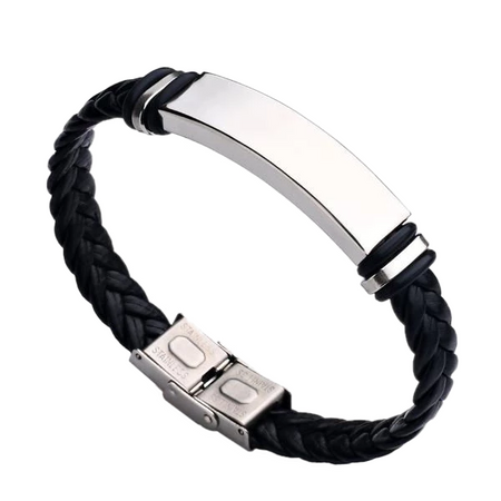 Stainless Steel Weaved Leather Bracelet