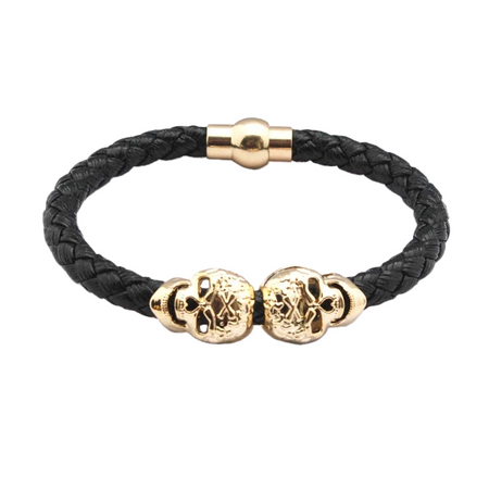 Gold and Silver Skulls Braided Men's Leather Bracelet