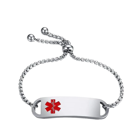 Adjustable Stainless Steel Medical ID Bracelet