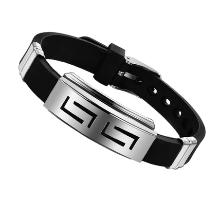 Black Stainless Steel Buckle Silicone Bracelet