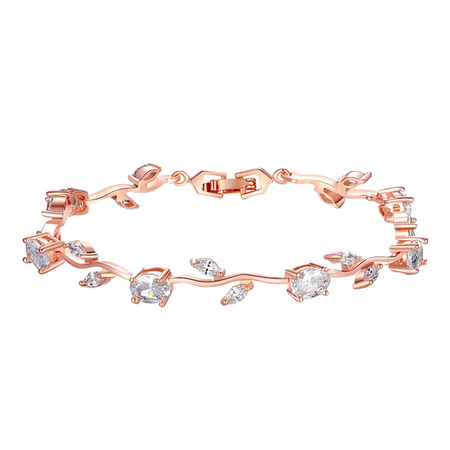 Zircon Leaf Chain Rose Gold Bracelet
